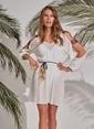 Morhipo Beach Bant Detaylı Elbise Ekru